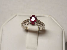 natural 1.10ct red ruby 925 sterling silver ring size 5.75 USA made