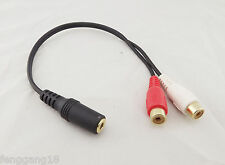 "Gold 1/8"" 3.5mm Stereo Female To 2 RCA Female Jack Splitter Audio Adapter Cable"