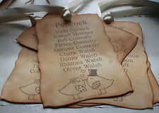 LOVE BIRDS-TABLE PLAN TAGS-Vintage Style-Wedding-Party-Ball-Ribbon Choice-Unique