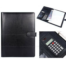 A4 Conference Folder PU Leather Portfolio Organiser with Calculator Black