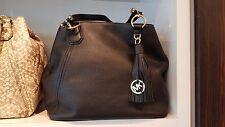New Authentic Michael Kors Frances LG Grab Bag Shoulder Hobo Black Gold Toned