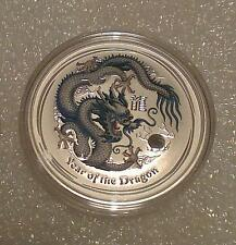 "Australian Lunar II ""Year of the Dragon"" (White) 2012 1 Oz Silver coin"