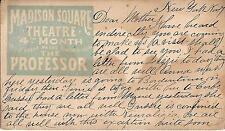"""William Gillette (Debut) """"THE PROFESSOR"""" Madison Square Theatre 1881 Postcard"""