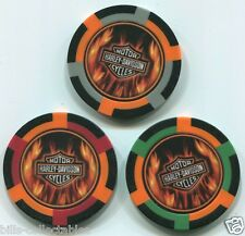 3 pc 3 colors HARLEY DAVIDSON MOTORCYCLE FLAMES poker chip sample set #187