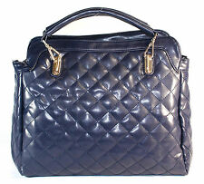 BLUE Quilted PU Pleather Lady Tote Bag Shoulder Bag Handbag!