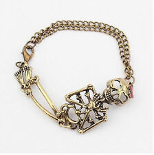 Vintage alloy Rock Gothic Punk Double Chain Skeleton Skull Bangle charm Bracelet