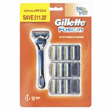 Gillette Fusion Men's Razor and 10 Razor Blades Genuine UK Stock