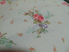 RALPH LAUREN TWIN SHEET BLUE PETITE PINK ROSES COTTAGE