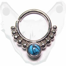 Brass Turquoise Indian Tribal Clicker Septum Ring Captive Nose Piercing Tragus