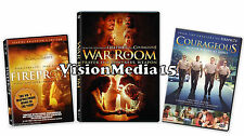 3 Pack - Fireproof WAR ROOM Courageous DVD NEW Kirk Cameron Erin Bethea SEALED