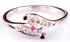 .22 Ct REAL RAW WHITE NATURAL DIAMOND & Milty Colour .925 Silver Ring