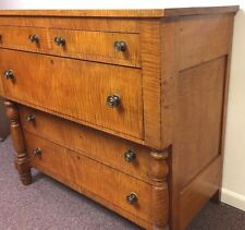 Circa 1830s New England Tiger Maple Empire Chest Of Drawers Sideboard