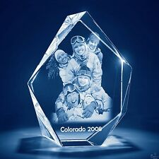 Christmas 3D Laser Crystal Glass Personalized Etched Engrave Gift Med. Prestige