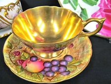 AYNSLEY ORCHARD FRUIT TEA CUP AND SAUCER GOLD BOWL TEACUP PAINTED ATHENS A/F