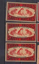 3  Anciennes étiquette allumettes Suède   Trois Grenouilles  Royaume Uni