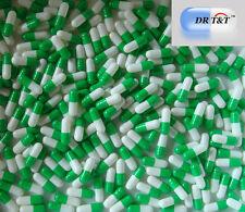 100 capsule vuote in gelatina pastiglie bianco e verde da rimepire misura 00