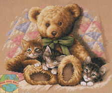 Cross Stitch Kit ~ Dimensions Teddy Bear & Kittens on Quilt #35236