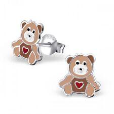 Para Niños señoras plata Brown Bear Zarcillos