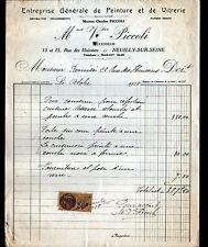 """NEUILLY-sur-SEINE (92) Ets de PEINTURE & de VITRERIE """"Charles PICCOLI"""" en 1928"""