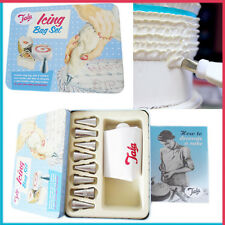 Cake Decoration Icing Bag Set TALA Piping Booklet 8 Nozzles Metal Gift Set Box