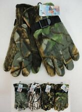 Lot of 24 Pairs Mens Hardwood Camo Thermal Insulated Winter Fleece Gloves WARM