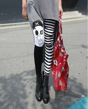 FD4524 Women Rock Punk Funky Nana Gothic Pirates Skull Leggings Pants