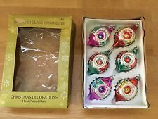 6 Vintage Hand Painted Glass Christmas Ornaments Glitter Indent MEXICO in Box