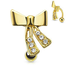 GOLDEN Jeweled Ribbon REVERSE Top-Down BELLY Button NAVEL RINGS Piercing Jewelry