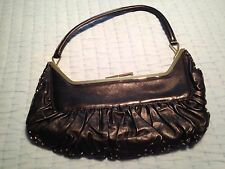 Fendi Vintage Very Rare Runway Lambskin Black Leather Bag w/Gold Beads