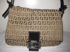 FENDI Zucca Canvas  Leather Semi Shoulder Brwon Beige Bag Purse .