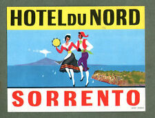 RARE Hotel luggage label ITALY Sorrento Du Nord Volcano image  #418