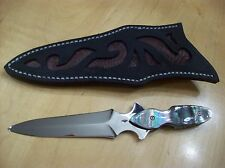 CUSTOM HANDMADE DAGGER KNIFE ~ BLACK MOTHER OF PEARL / ABALONE INLAYS ~ NICE!