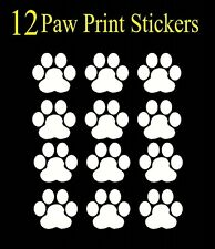 12 Paw Print Decals, Sticker, Car, Truck, Window, lap top, Bumper, White cat dog
