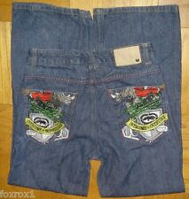 Skinny Girls Women Jeans Ecko Unltd Embroidered Rhino Pockets 1972 Size 14