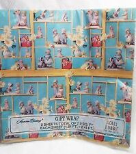 Vintage Holly Hobbie Wrapping Paper Figurines Shadow Box Blue Gift Wrap NEW NIP