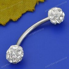 18G Clear Crystal Silver Steel Curved Bar Eyebrow Tragus Rings Piercing Jewelry