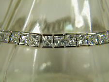 BRACELET: HIGH QUALITY PRINCESS CUT (5X5MM) FINE WHITE TOPAZ 925 SILVER FILLED