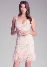 BEBE PINK DOUBLE V SEQUIN BEADED FEATHER TRIM DRESS NWOT NEW $498 XXSMALL XXS