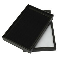 Black Tray Show Case Jewelry Display Storage Box Organiser Holder For 100 Ring