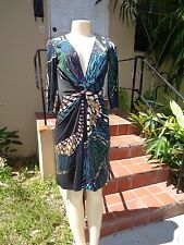 ISSA LONDON MULTI COLOR SIGNED SILK STRETCH GATHER DETAIL 3/4 SLEEVE DRESS Sz 6
