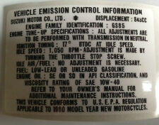 SUZUKI GS850 GS850G VEHICLE EMISSION CONTROL INFORMATION CAUTION WARNING DECAL