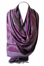 Paisley Print Two Sided Reversible Pashmina Feel Wrap Shawl Scarf Hijab Scarves