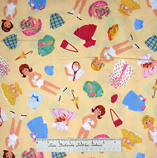 """Kids Fabric - Vintage Doll & Clothing Toss Cream - Timeless Treasures 23"""""""