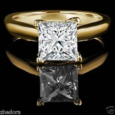 2.60 CT Princess Cut Engagement Ring 14k Yellow Gold Bridal Jewelry Solitaire