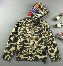 Men's Japan Camo A Bathing Ape Shark Jaw Light Weigh Hoodie Bape Windbreaker