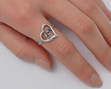 Silver Oxidized Heart & Mom Ring Sterling Silver 925 Best Deal Jewelry Size 8