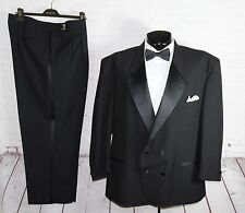 Mens (58R Black DoubleBreasted Notch Lapel Wool Tuxedo Pants Suit 43W Adjustable
