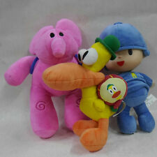 "SET OF 3PCS POCOYO & FRIENDS Pocoyo Elly Pato~ 10"" Stuffed Plush dolls"