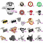 Superhero Novelty Silver Cufflinks Cuff Links Gift Box Boxed Wedding Party Suit