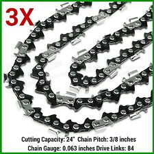 "3 x CHAINSAW CHAINS 3/8 063 84DL for Baumr-Ag SX82 82cc Chainsaw with 24"" BAR"